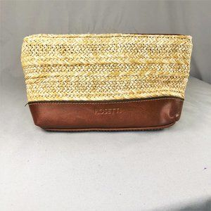 Rosetti Small Straw and Leather Makeup Travel bag